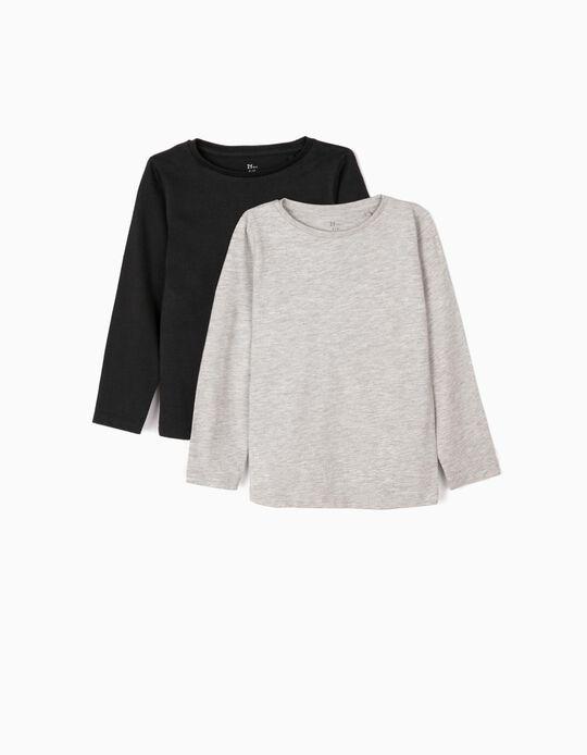 2-Pack Long-sleeve Top for Girls, Grey/Black
