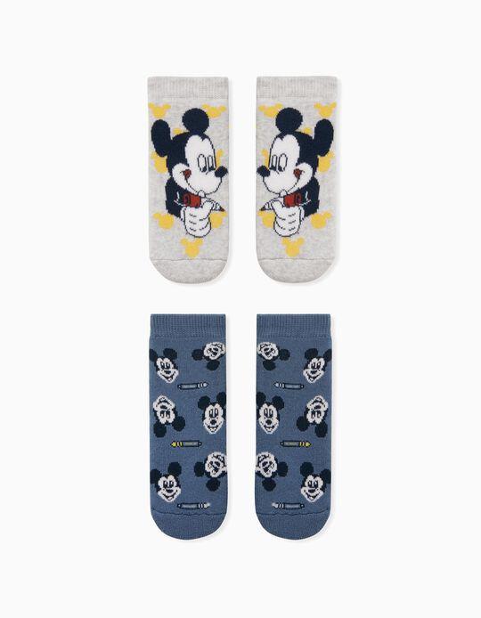 2 paires de chaussettes antidérapantes bébé garçon 'Mickey', gris/bleu