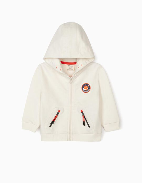Hooded Jacket for Baby Boys 'Space Explorer', White