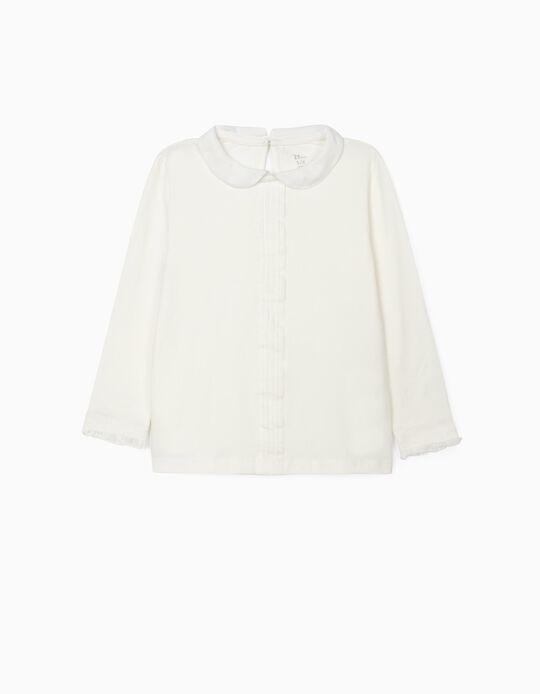 Camiseta de Manga Larga con Cuello para Niña, Blanco