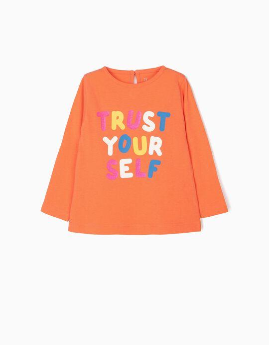 Camiseta de Manga Larga para Bebé Niña 'Trust Yourself', Naranja