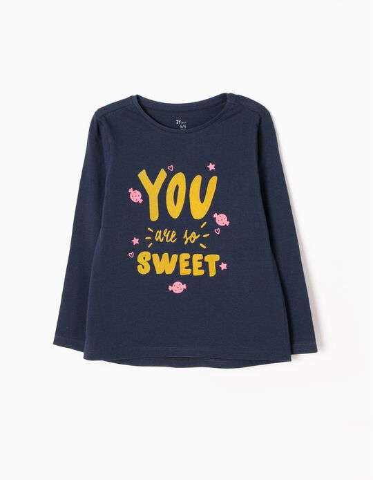 T-shirt Manga Comprida Sweet Azul