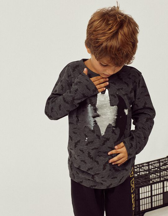 Camiseta de Manga Larga para Niño 'Batman', Gris Oscuro