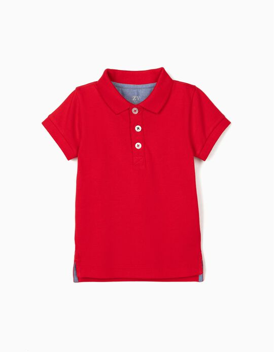 Piqué Knit Polo Shirt for Baby Boys, Red