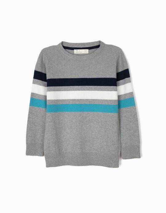 Camisola de Malha para Menino, Azul e Cinzenta