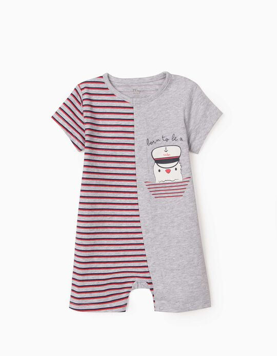 Short Sleeve Sleepsuit for Baby Boys, 'Sailor', Grey