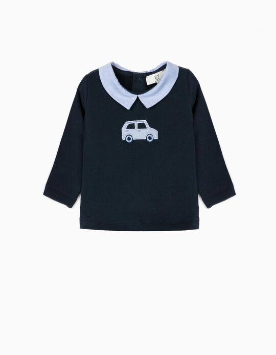 Sweatshirt for Newborn Boys 'Car', Dark Blue