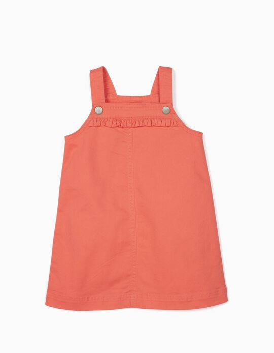 Pinafore Dress for Baby Girls, Coral