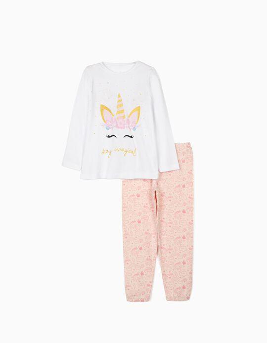 Pijama Manga Comprida para Menina 'Unicorn', Branco/Rosa