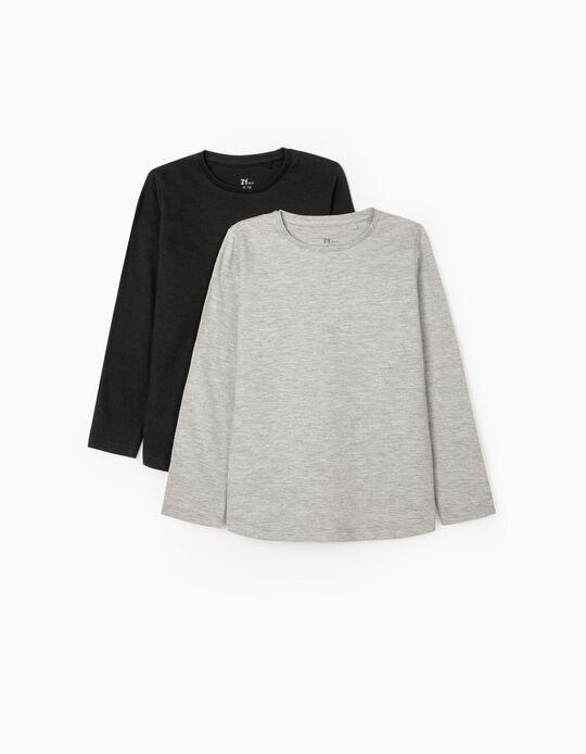 2 T-shirts Manga Comprida para Menina, Preto/Cinza