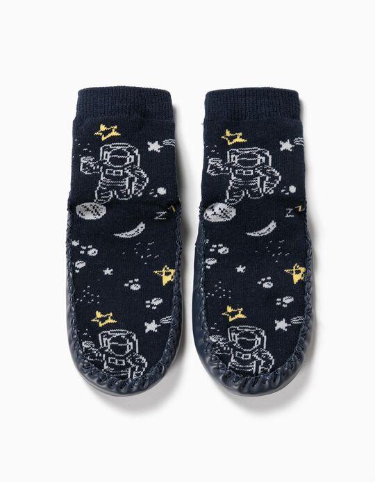 Calcetines Pantuflas Antideslizantes para Niño 'Space', Azul Oscuro