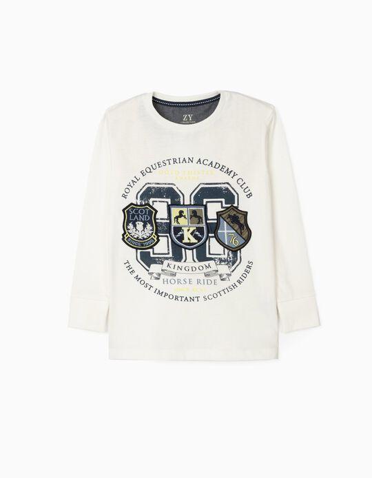 T-Shirt Manches Longues Garçon 'Horse Ride', Blanc