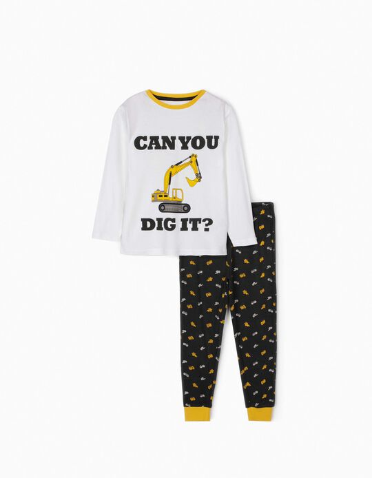 Pijama para Menino 'Can You Dig It?', Branco/Cinza