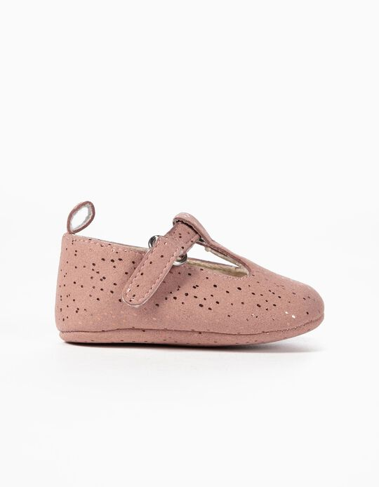 Sapatos de Camurcina para Recém-Nascida, Rosa
