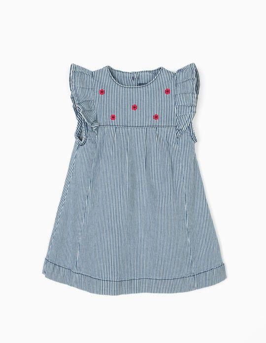 Vestido para Bebé Niña a Rayas con flores, Azul