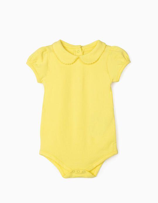 Body Manga Corta para Bebé Niña, Amarillo