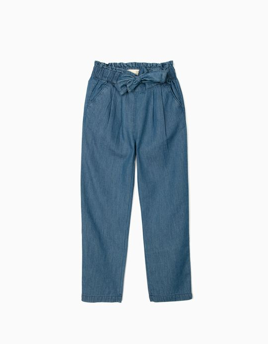 Pantalon Denim fille, bleu