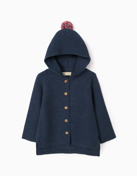 Hooded Cardigan for Baby Girls, Dark Blue