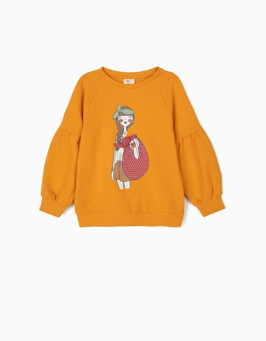 Sweatshirt para Menina com Laço, Amarela