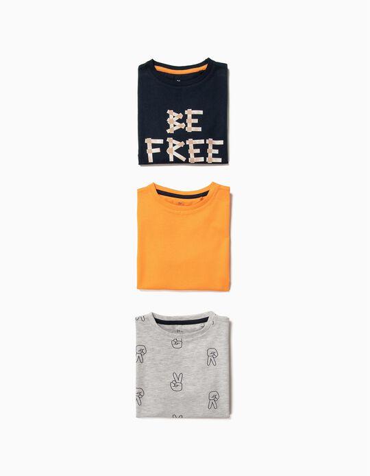 3 Camisetas para Niño 'Be Free', Multicolores