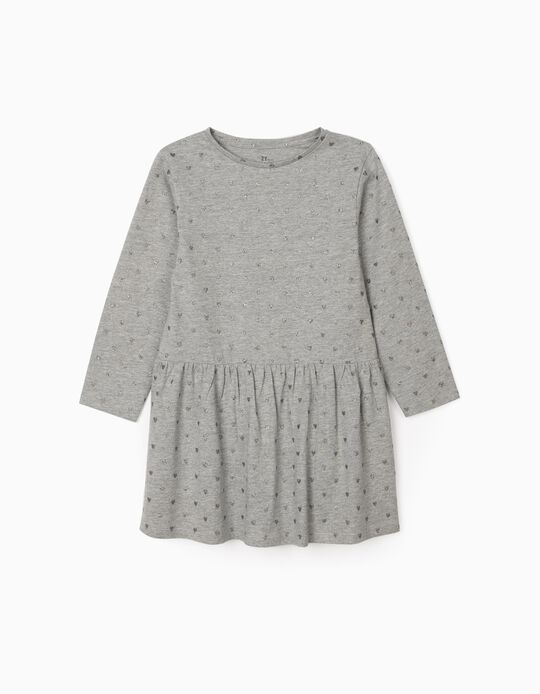 Vestido Jersey para Menina 'Hearts', Cinza