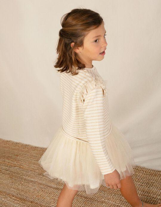 Vestido de Dos Materias para Niña 'Stripes & Dots', Blanco/Dorado