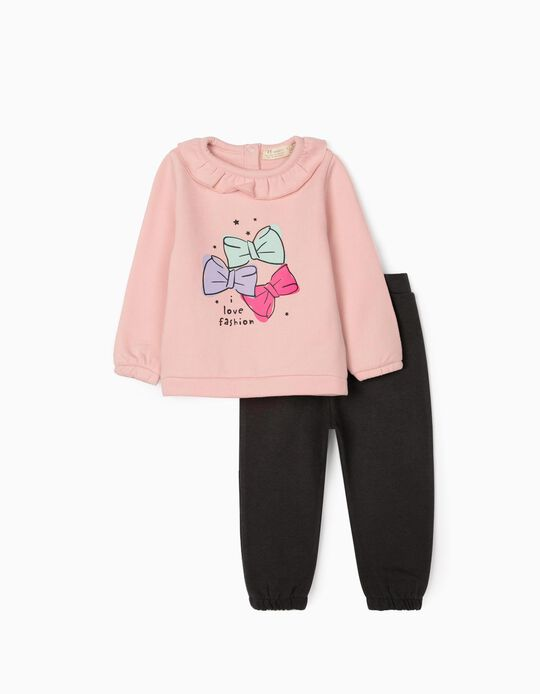 Tracksuit for Baby Girls 'Love Fashion', Pink/Dark Blue