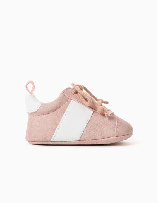 Zapatillas para Recién Nacida, Rosa/Blanco