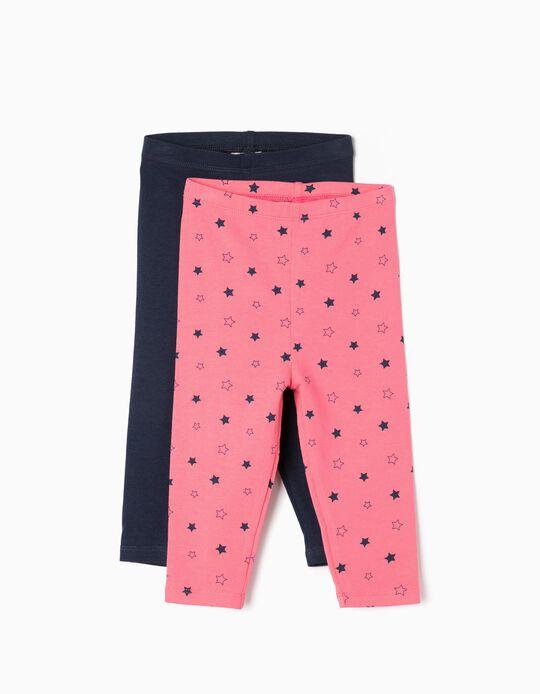 2 Leggings para Bebé Menina 'Stars', Rosa e Azul Escuro