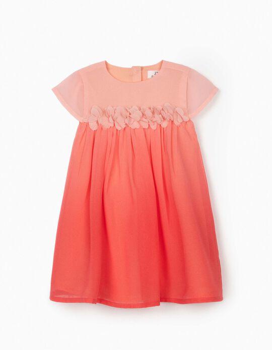 Chiffon Dress for Baby Girls, 'Flowers', Pink