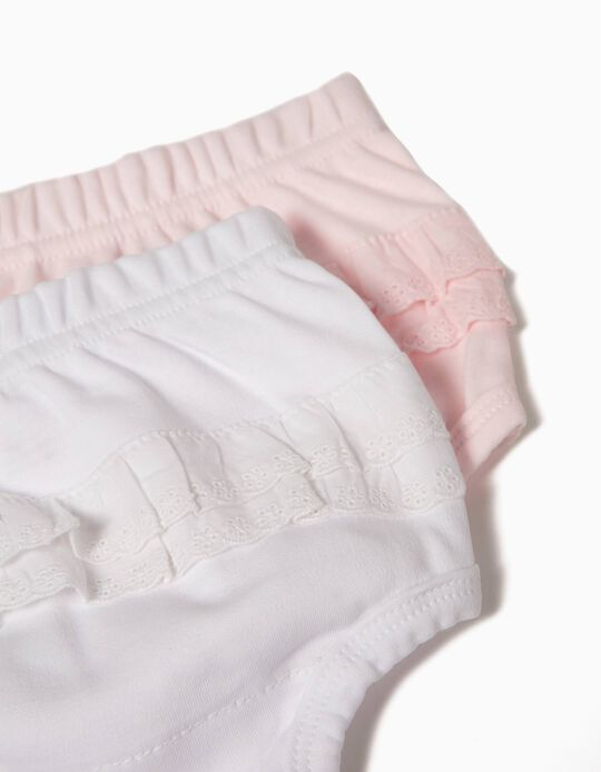 Pack of 2 Nappy Cover Briefs, Pink & White