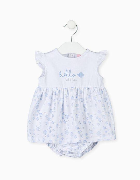 Vestido com Tapa-Fraldas para Recém-Nascida LOSAN, Branco/Azul