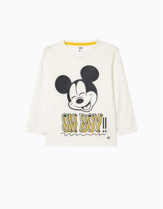 T-shirt manches longues garçon 'Mickey Oh Boy!', blanc