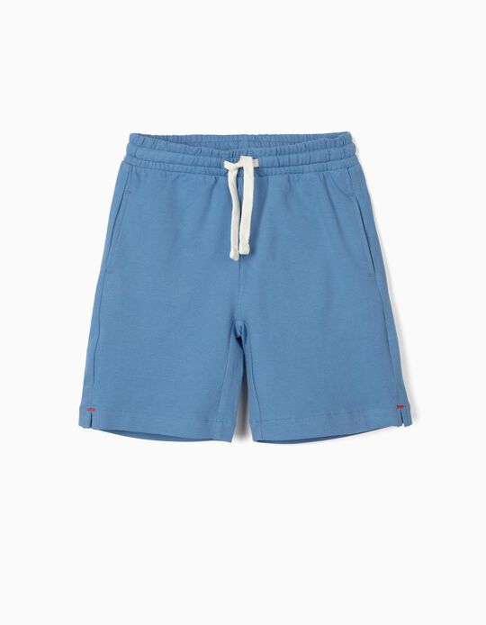 Piqué Knit Sports Shorts for Boys, Blue