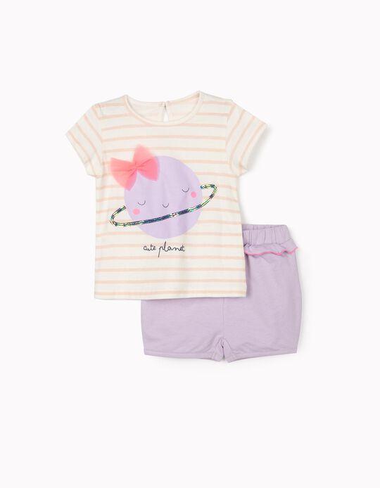 T-shirt e Calções para Bebé Menina 'Cute Planet', Branco/Lilás/Rosa
