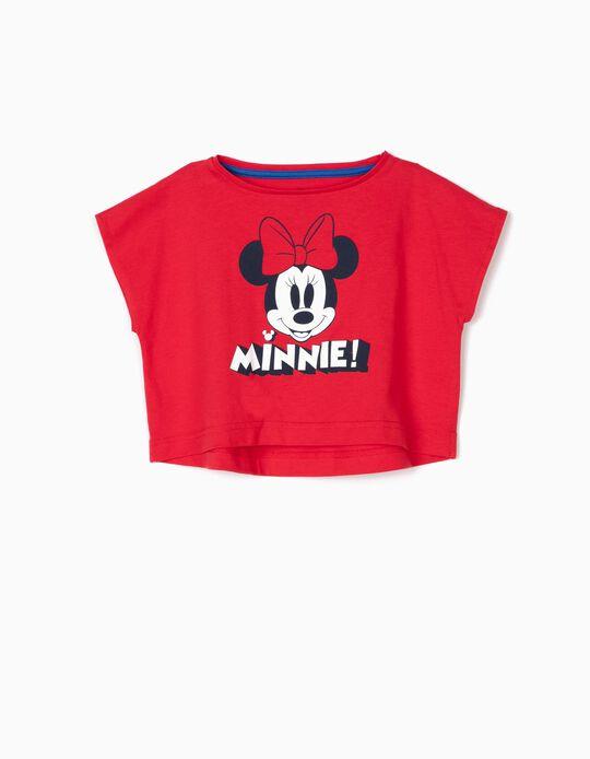 T-shirt Curta para Menina 'Minnie', Vermelho