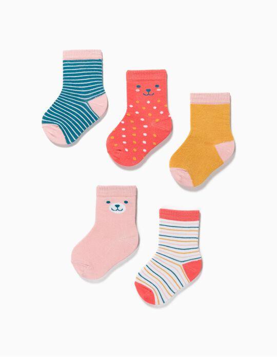 5 Pares de Calcetines para Bebé Niña 'Dots & Stripes', Multicolor