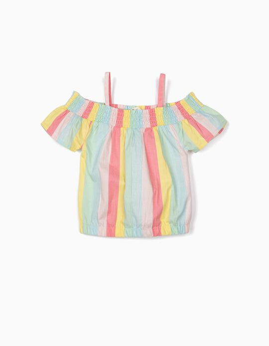 Blusa às Riscas para Menina, Multicolor