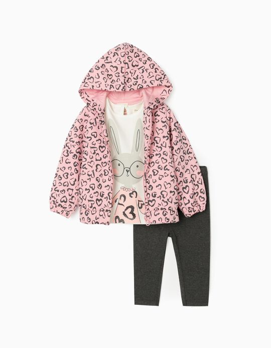 3-Piece Combo for Baby Girls, Pink/White/Grey