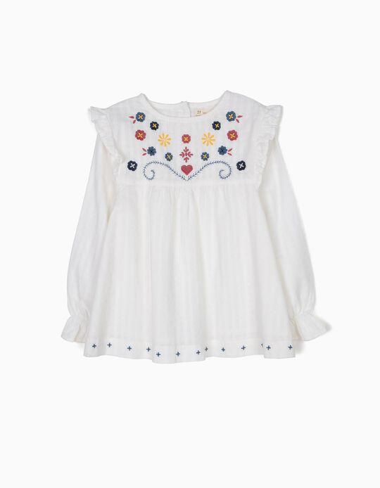 Blusa Blanca con Relieve y Bordados
