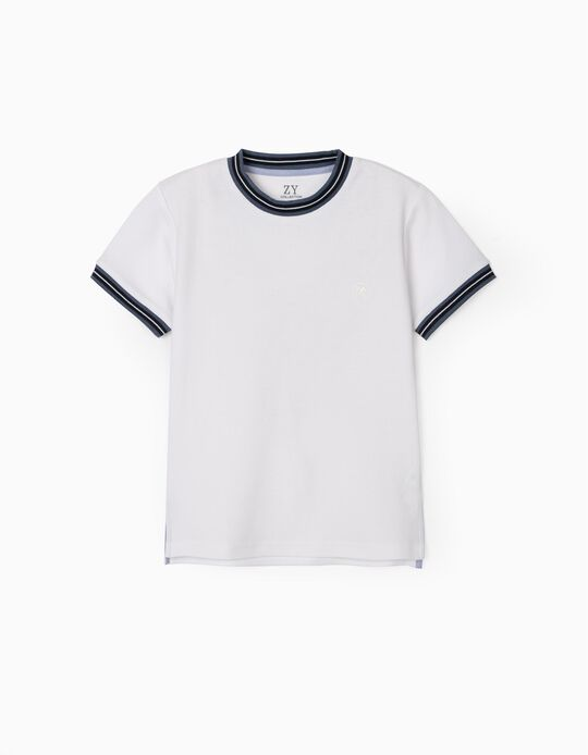 Piqué Knit Polo T-shirt for Boys, White