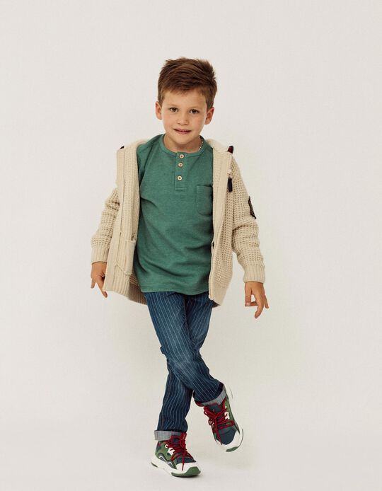 Long Sleeve Waffle Top for Boys, Green