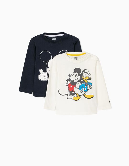 2 T-Shirts de Manga Comprida para Bebé Menino 'Disney', Branco/Azul Escuro