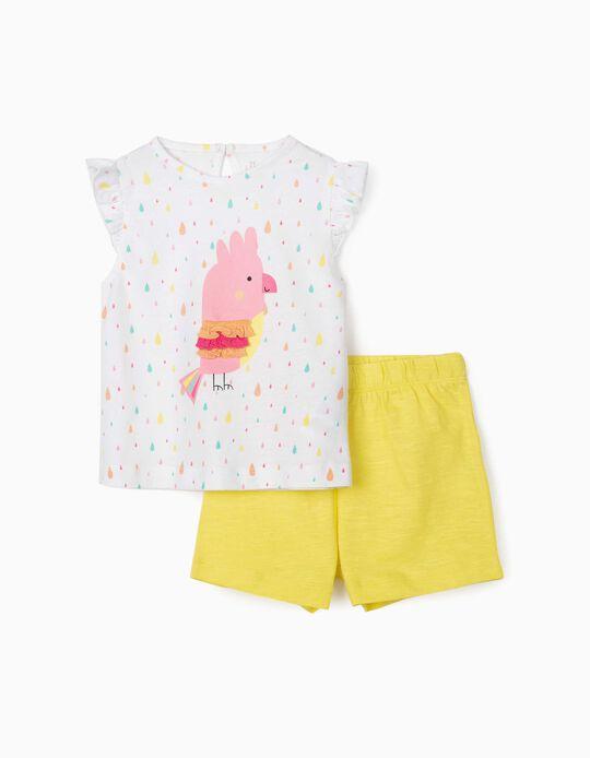 Top & Shorts for Baby Girls, 'Bird', White/Yellow