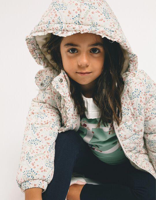 Blusão Acolchoado para Menina 'Flores', Cinza
