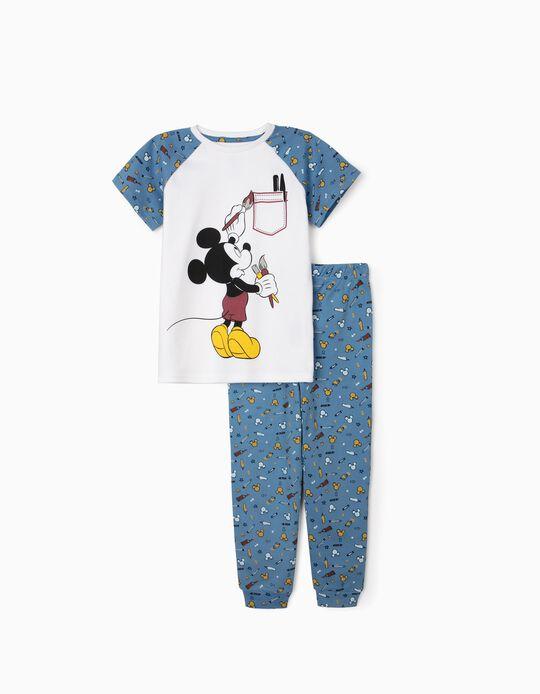 Pyjamas for Boys, 'Mickey Artist', White/Blue