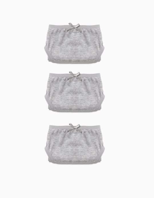 3-Pack Briefs for Girls, Grey