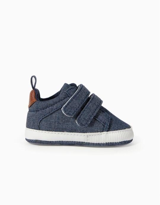 Zapatillas Chambray para Recién Nacido, Azul Oscuro