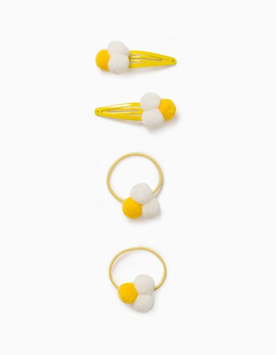 2 Bobbles, + 2 Hair Clips for Girls, 'Pompoms', Yellow/White