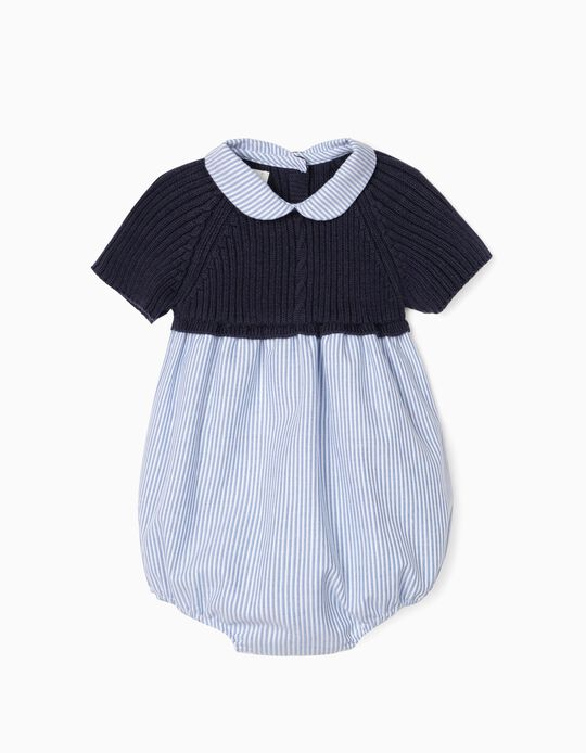 Dual Fabric Jumpsuit for Newborn Baby Boys, Blue/White